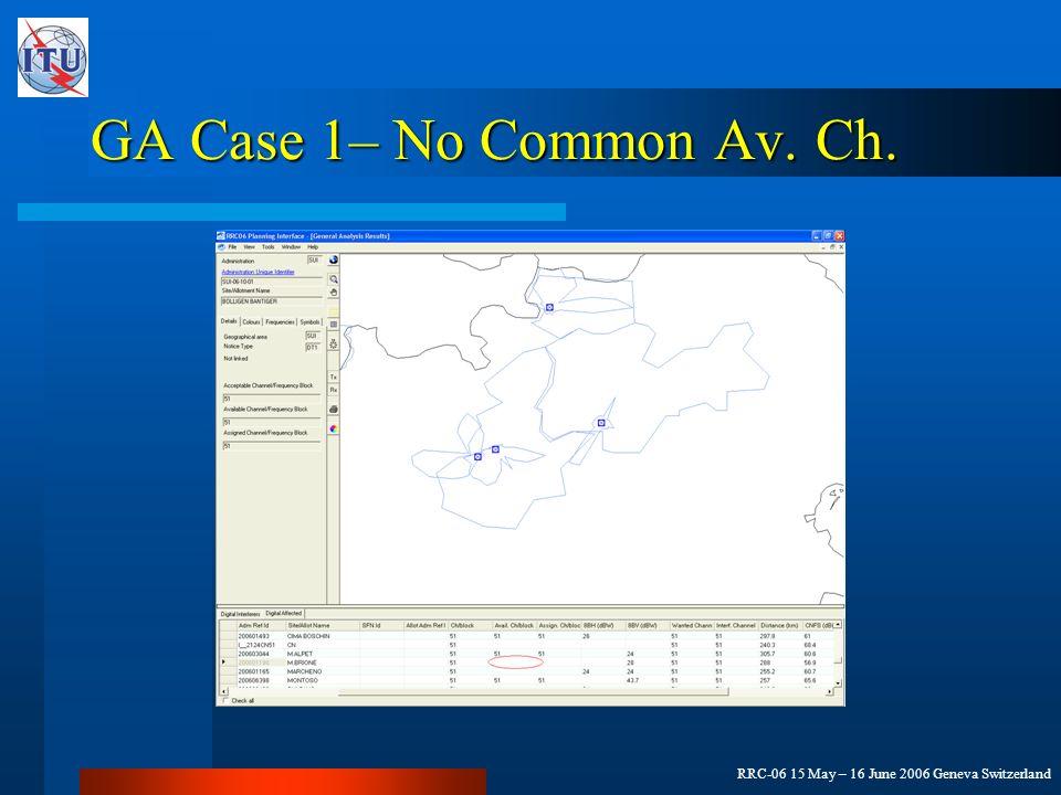 RRC-06 15 May – 16 June 2006 Geneva Switzerland GA Case 1– No Common Av. Ch.