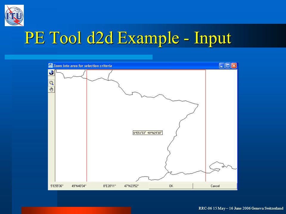 RRC-06 15 May – 16 June 2006 Geneva Switzerland PE Tool d2d Example - Input