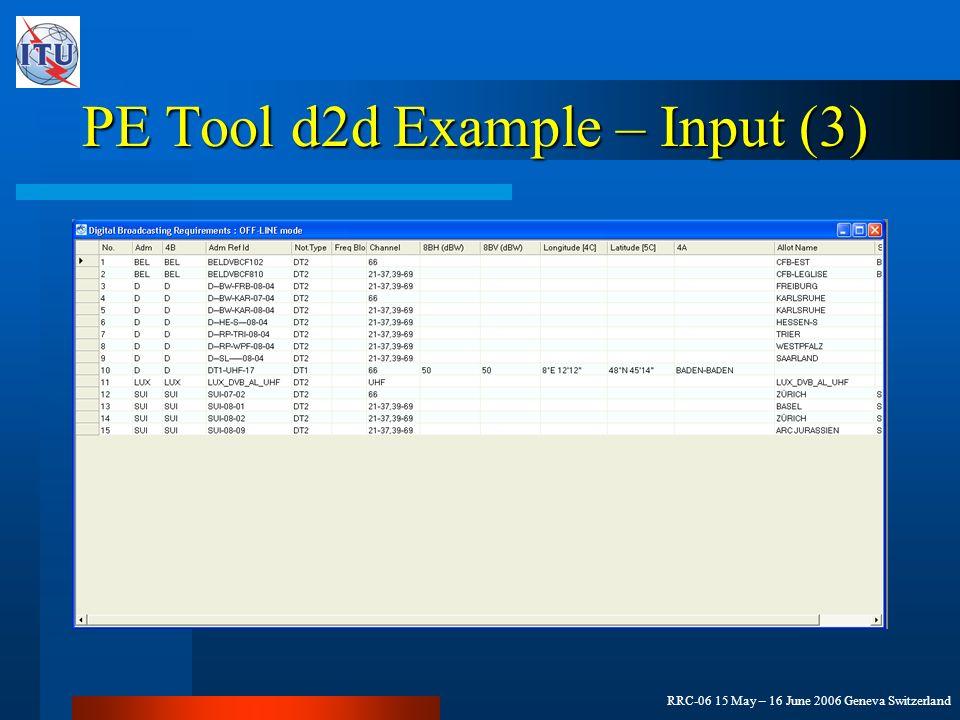 RRC-06 15 May – 16 June 2006 Geneva Switzerland PE Tool d2d Example – Input (3)