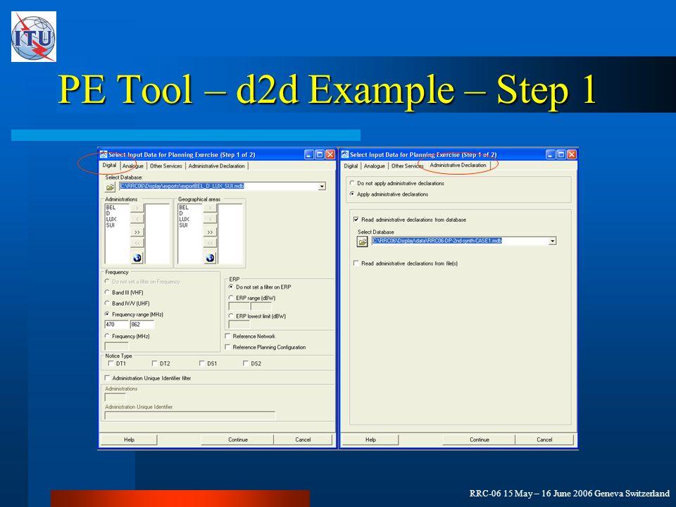 RRC-06 15 May – 16 June 2006 Geneva Switzerland PE Tool – d2d Example – Step 1