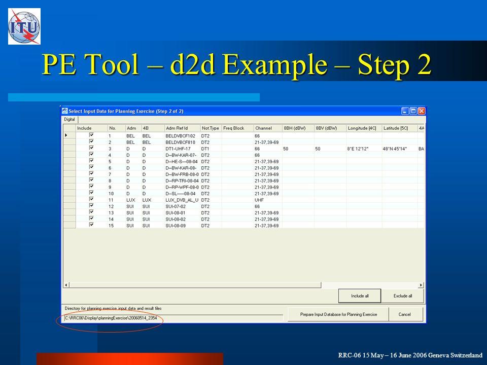 RRC-06 15 May – 16 June 2006 Geneva Switzerland PE Tool – d2d Example – Step 2