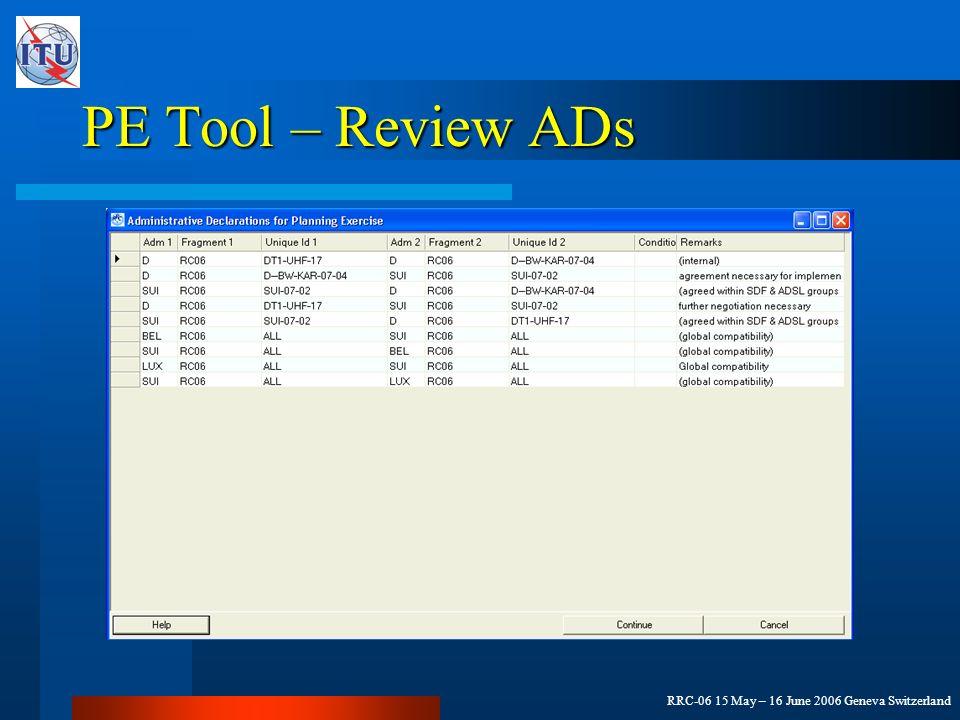 RRC-06 15 May – 16 June 2006 Geneva Switzerland PE Tool – Review ADs