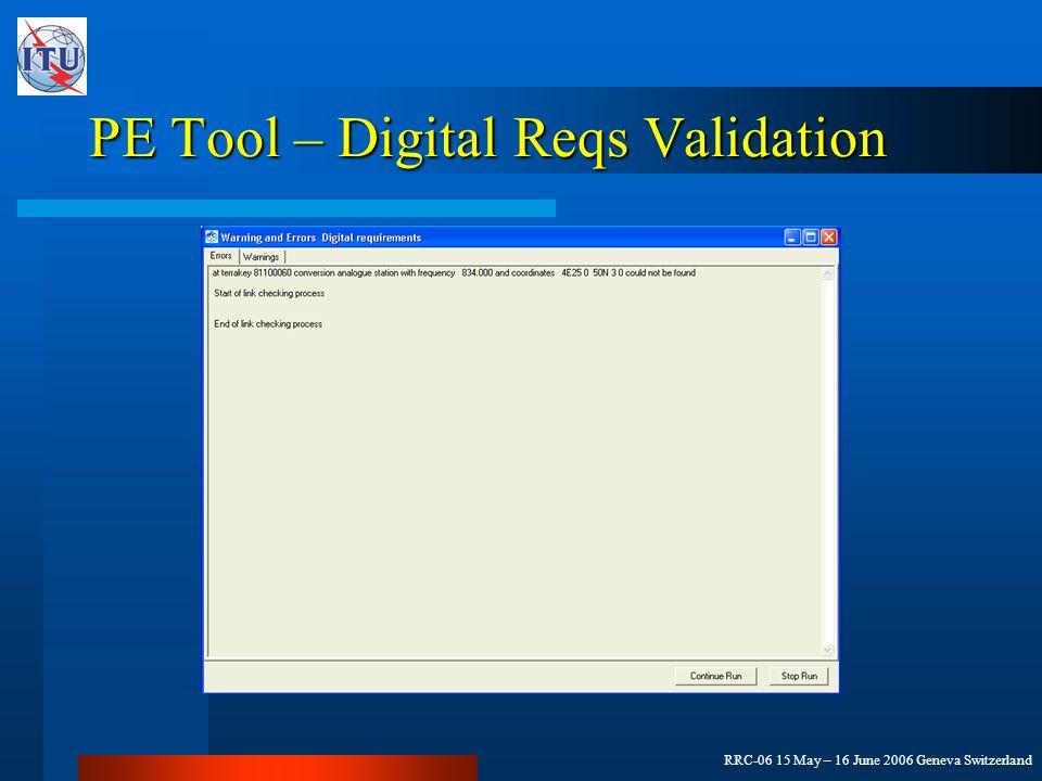 RRC-06 15 May – 16 June 2006 Geneva Switzerland PE Tool – Digital Reqs Validation