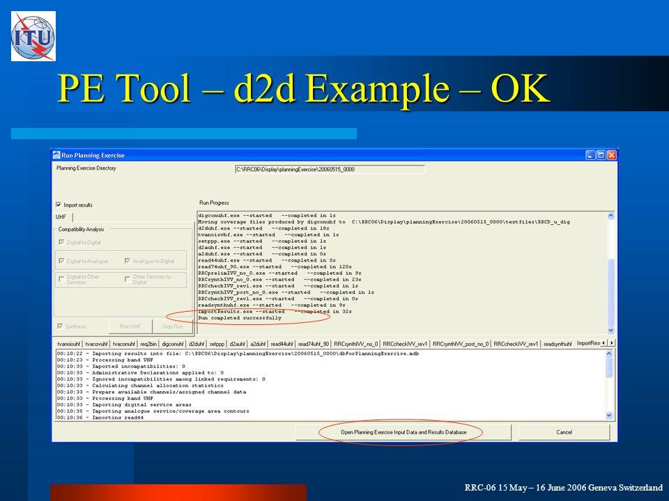 RRC-06 15 May – 16 June 2006 Geneva Switzerland PE Tool – d2d Example – OK