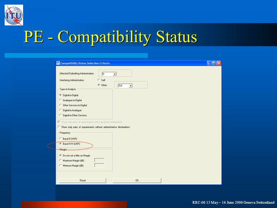 RRC-06 15 May – 16 June 2006 Geneva Switzerland PE - Compatibility Status