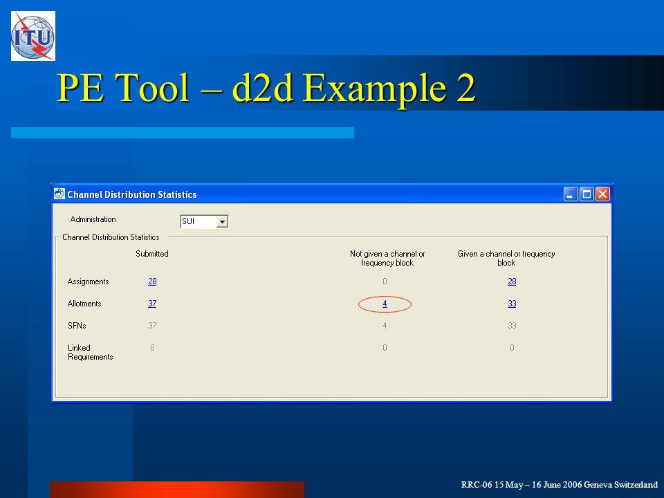 RRC-06 15 May – 16 June 2006 Geneva Switzerland PE Tool – d2d Example 2