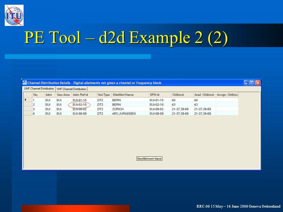 RRC-06 15 May – 16 June 2006 Geneva Switzerland PE Tool – d2d Example 2 (2)