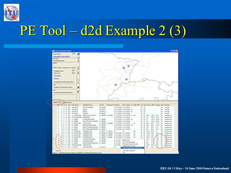 RRC-06 15 May – 16 June 2006 Geneva Switzerland PE Tool – d2d Example 2 (3)