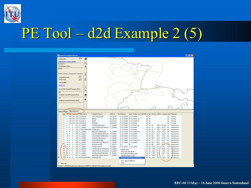 RRC-06 15 May – 16 June 2006 Geneva Switzerland PE Tool – d2d Example 2 (5)