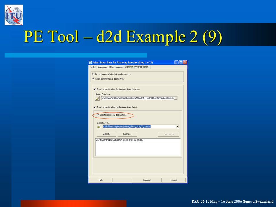 RRC-06 15 May – 16 June 2006 Geneva Switzerland PE Tool – d2d Example 2 (9)