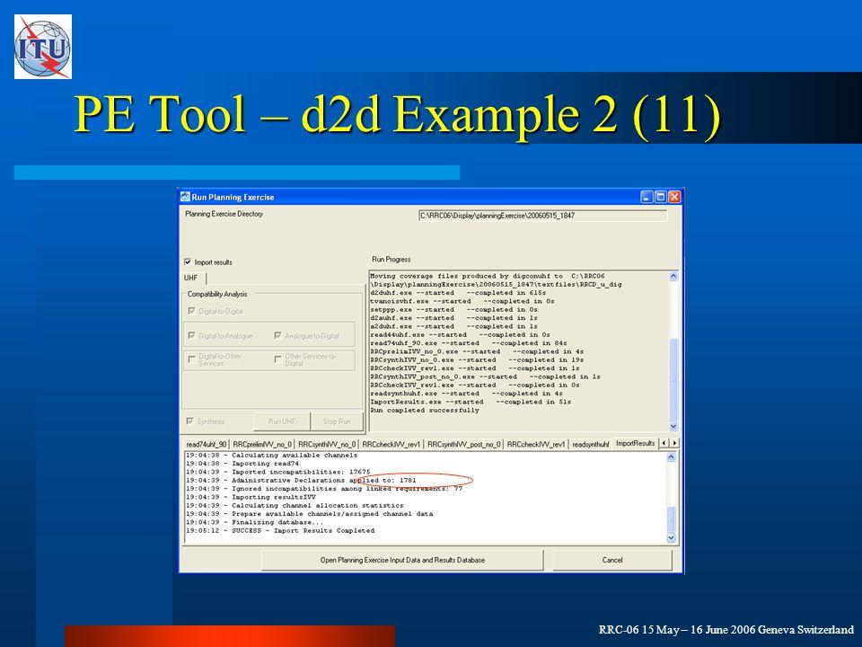 RRC-06 15 May – 16 June 2006 Geneva Switzerland PE Tool – d2d Example 2 (11)