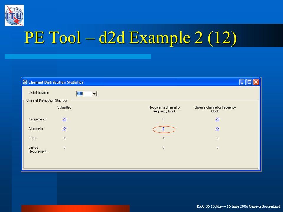 RRC-06 15 May – 16 June 2006 Geneva Switzerland PE Tool – d2d Example 2 (12)