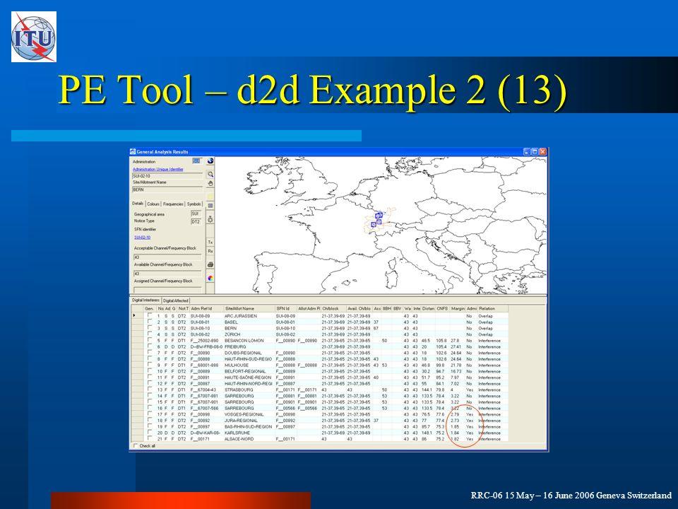 RRC-06 15 May – 16 June 2006 Geneva Switzerland PE Tool – d2d Example 2 (13)