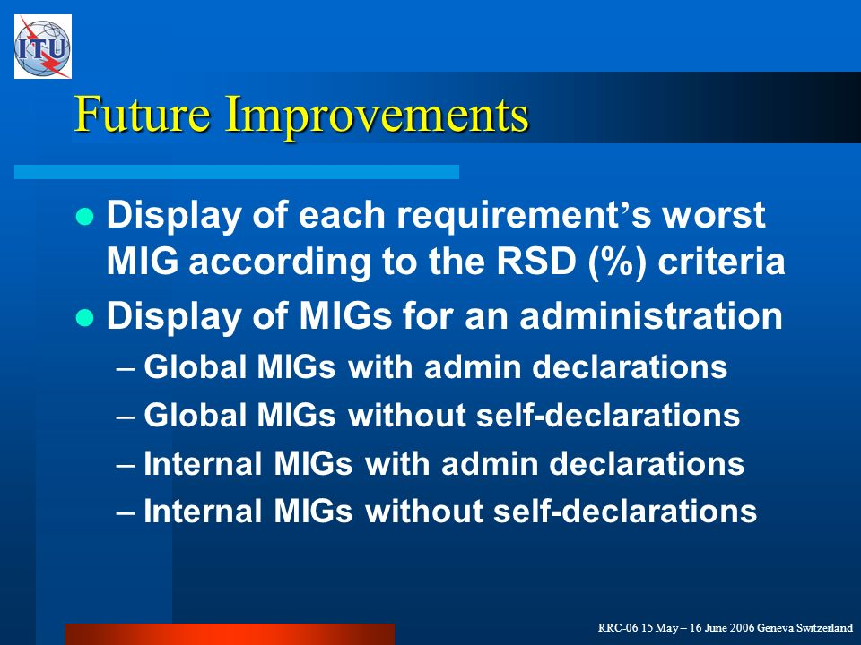 RRC-06 15 May – 16 June 2006 Geneva Switzerland Future Improvements Display of each requirement s worst MIG according to the RSD (%) criteria Display of MIGs for an administration –Global MIGs with admin declarations –Global MIGs without self-declarations –Internal MIGs with admin declarations –Internal MIGs without self-declarations