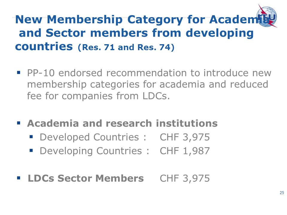New Membership Category for Academia and Sector members from developing countries (Res.