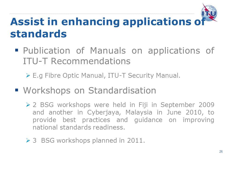 Assist in enhancing applications of standards Publication of Manuals on applications of ITU-T Recommendations E.g Fibre Optic Manual, ITU-T Security M