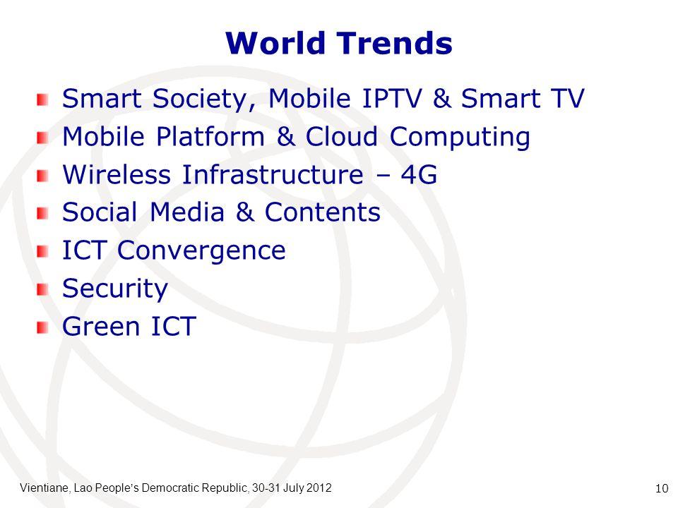 World Trends Smart Society, Mobile IPTV & Smart TV Mobile Platform & Cloud Computing Wireless Infrastructure – 4G Social Media & Contents ICT Converge