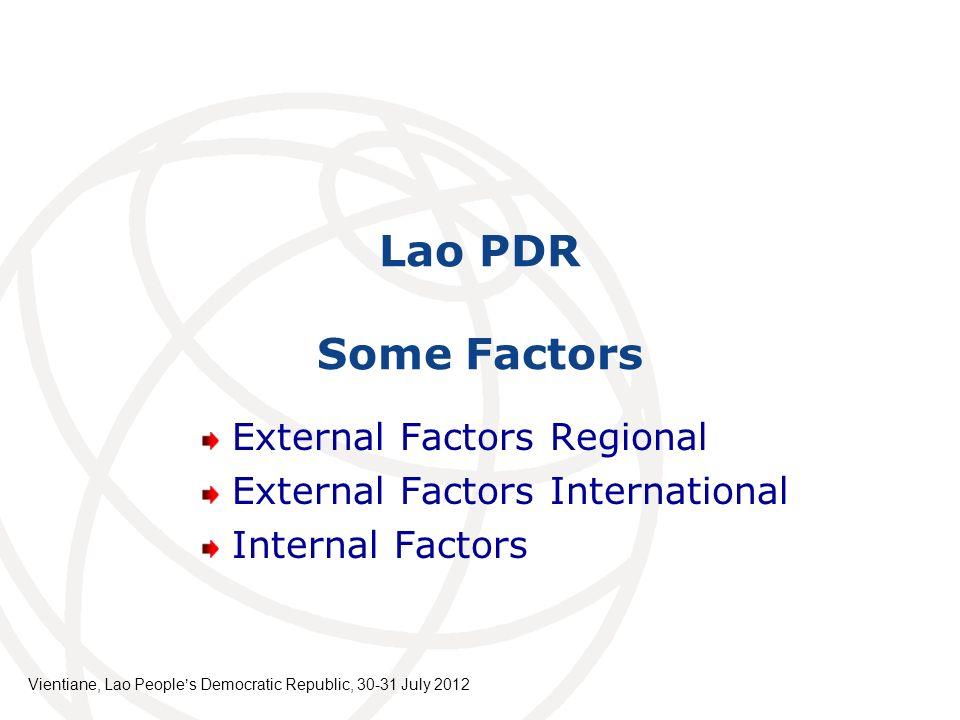Lao PDR Some Factors External Factors Regional External Factors International Internal Factors Vientiane, Lao Peoples Democratic Republic, 30-31 July
