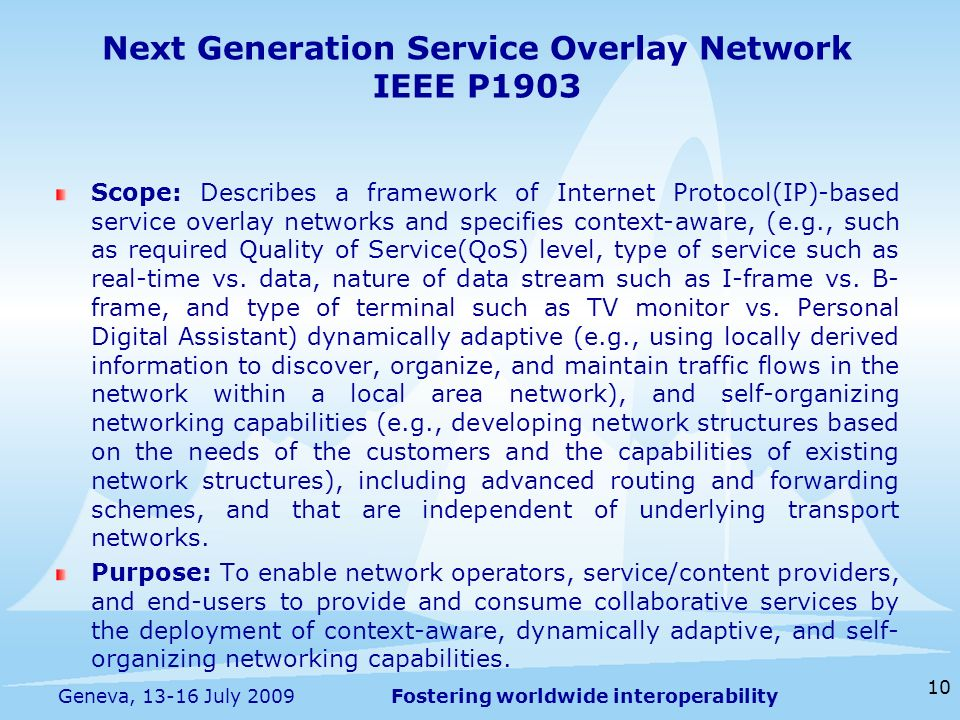 Fostering worldwide interoperability Next Generation Service Overlay Network IEEE P1903 Scope: Describes a framework of Internet Protocol(IP)-based se