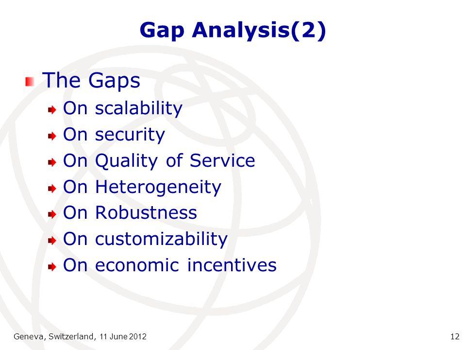 Gap Analysis(2) The Gaps On scalability On security On Quality of Service On Heterogeneity On Robustness On customizability On economic incentives Geneva, Switzerland, 11 June 2012 12