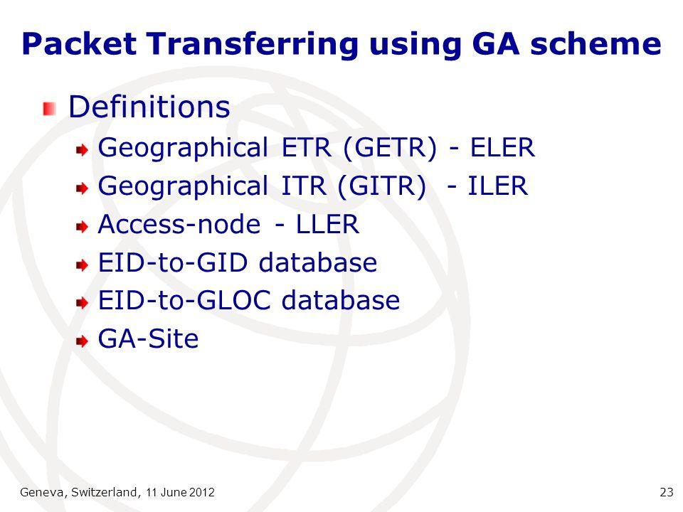 Packet Transferring using GA scheme Definitions Geographical ETR (GETR) - ELER Geographical ITR (GITR) - ILER Access-node - LLER EID-to-GID database EID-to-GLOC database GA-Site Geneva, Switzerland, 11 June 2012 23