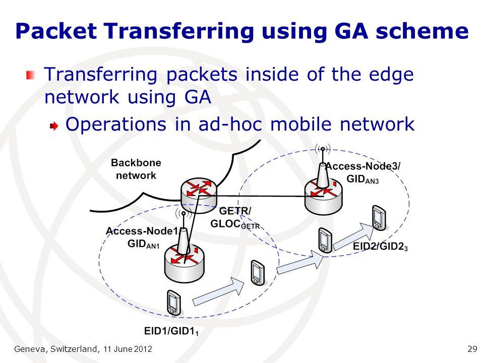 Packet Transferring using GA scheme Transferring packets inside of the edge network using GA Operations in ad-hoc mobile network Geneva, Switzerland, 11 June 2012 29