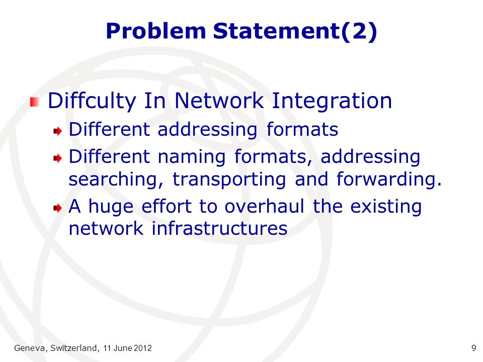 Problem Statement(3) Technical Limitations Central Registration Authority Address Space exhaustion Address costs Identifier-locator separation Routing Table Vertical Structure DNS Translation Data Encryption Category addresses Lack Geographic Consideration No address in native language No decimal naming system IPv6 Limitations New demands on old naming Geneva, Switzerland, 11 June 2012 10