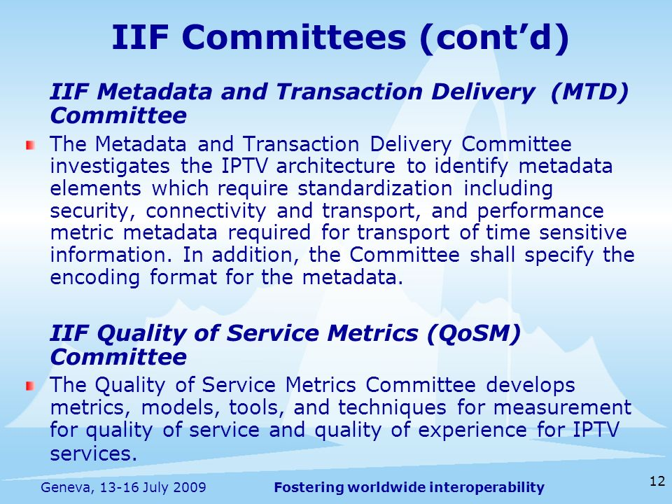 Fostering worldwide interoperability 12 Geneva, 13-16 July 2009 IIF Committees (contd) IIF Metadata and Transaction Delivery (MTD) Committee The Metadata and Transaction Delivery Committee investigates the IPTV architecture to identify metadata elements which require standardization including security, connectivity and transport, and performance metric metadata required for transport of time sensitive information.