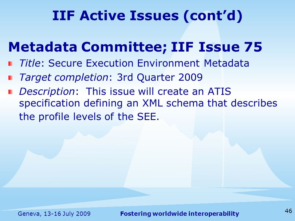 Fostering worldwide interoperability 46 Geneva, 13-16 July 2009 Metadata Committee; IIF Issue 75 Title: Secure Execution Environment Metadata Target c