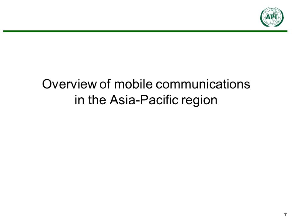 77 Overview of mobile communications in the Asia-Pacific region
