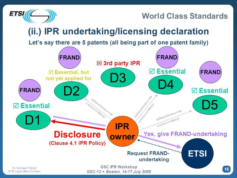 World Class Standards Dr. Michael Fröhlich ETSI Legal Affairs Director GSC IPR Workshop GSC-13 Boston, 14-17 July 2008 15 (ii.) IPR undertaking/licens