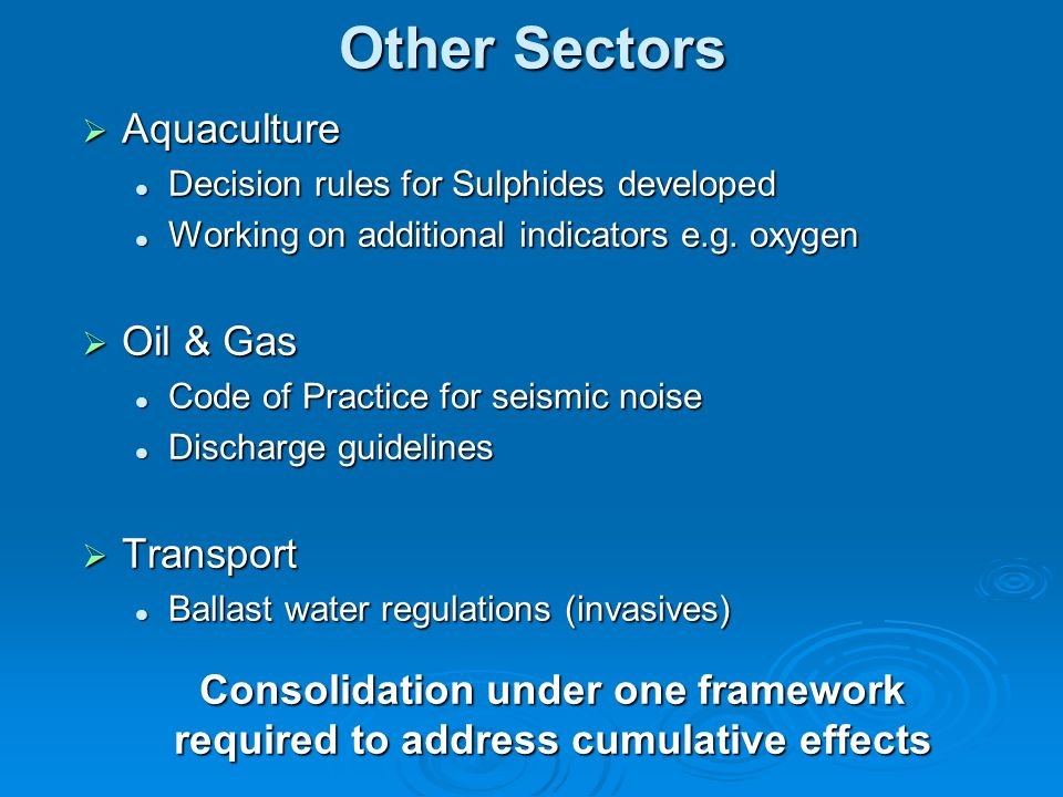 Other Sectors Aquaculture Aquaculture Decision rules for Sulphides developed Decision rules for Sulphides developed Working on additional indicators e.g.