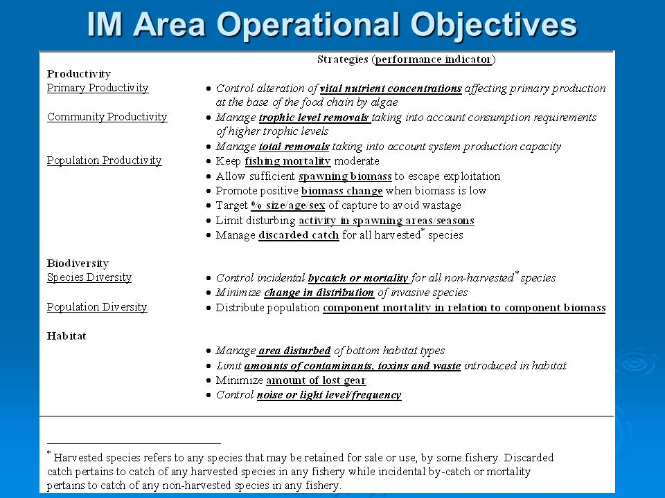 IM Area Operational Objectives