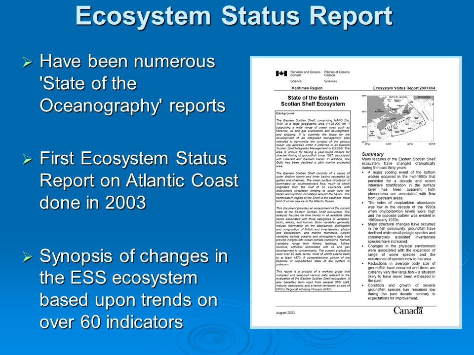 Ecosystem Status Report Have been numerous State of the Oceanography reports Have been numerous State of the Oceanography reports First Ecosystem Status Report on Atlantic Coast done in 2003 First Ecosystem Status Report on Atlantic Coast done in 2003 Synopsis of changes in the ESS ecosystem based upon trends on over 60 indicators Synopsis of changes in the ESS ecosystem based upon trends on over 60 indicators