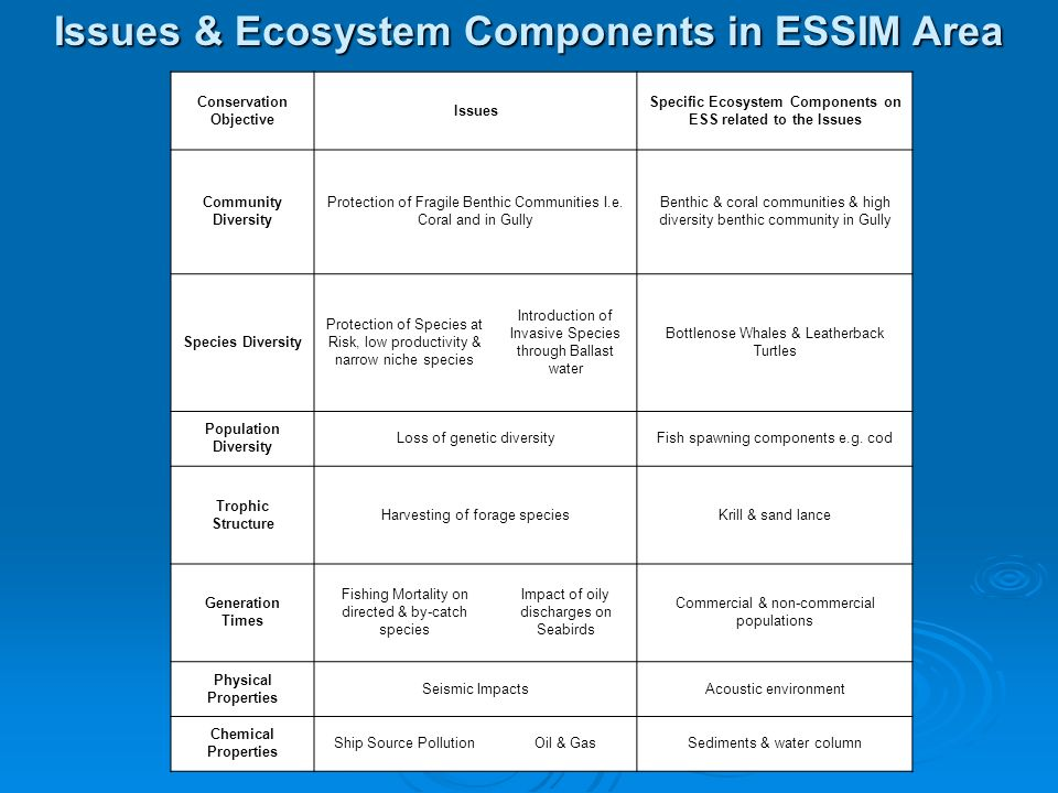 Conservation Objective Issues Specific Ecosystem Components on ESS related to the Issues Community Diversity Protection of Fragile Benthic Communities I.e.