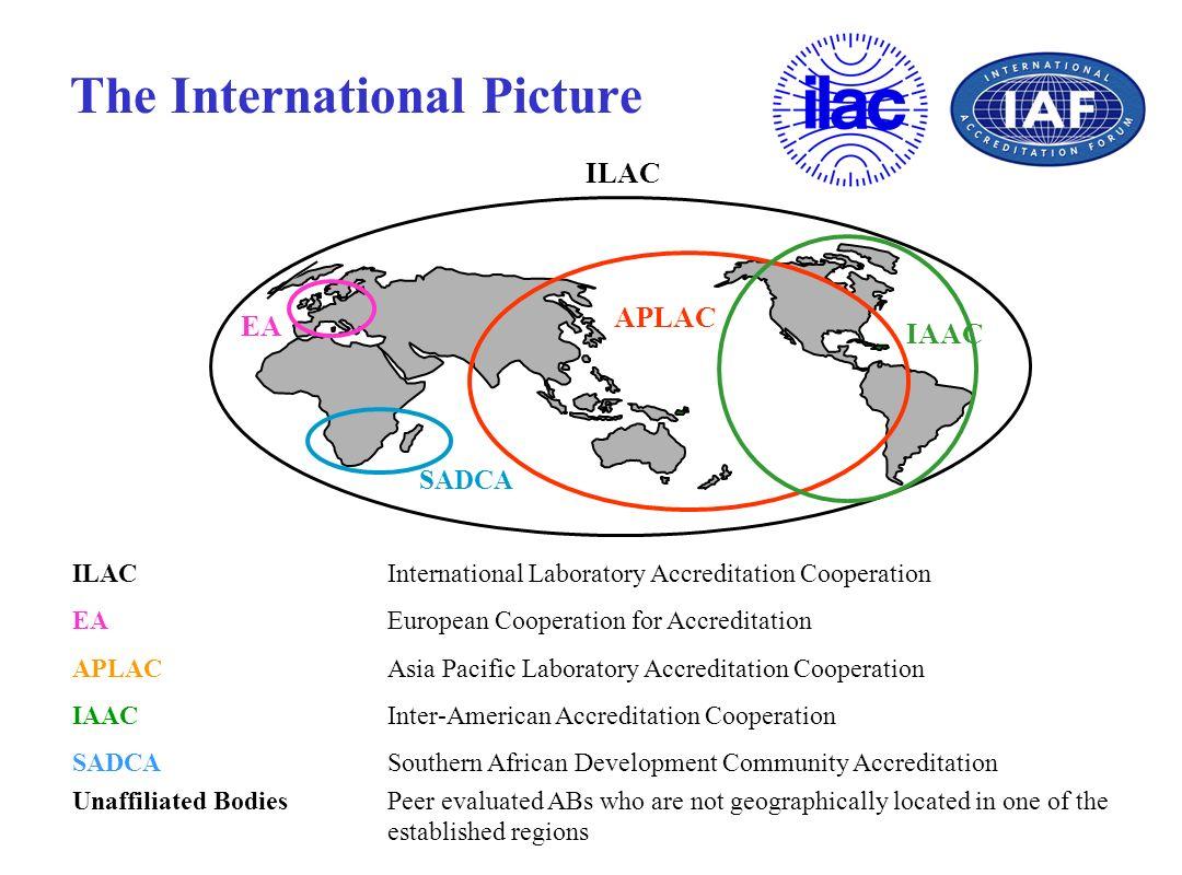 The International Picture ILAC EA APLAC IAAC SADCA ILACInternational Laboratory Accreditation Cooperation EAEuropean Cooperation for Accreditation APL