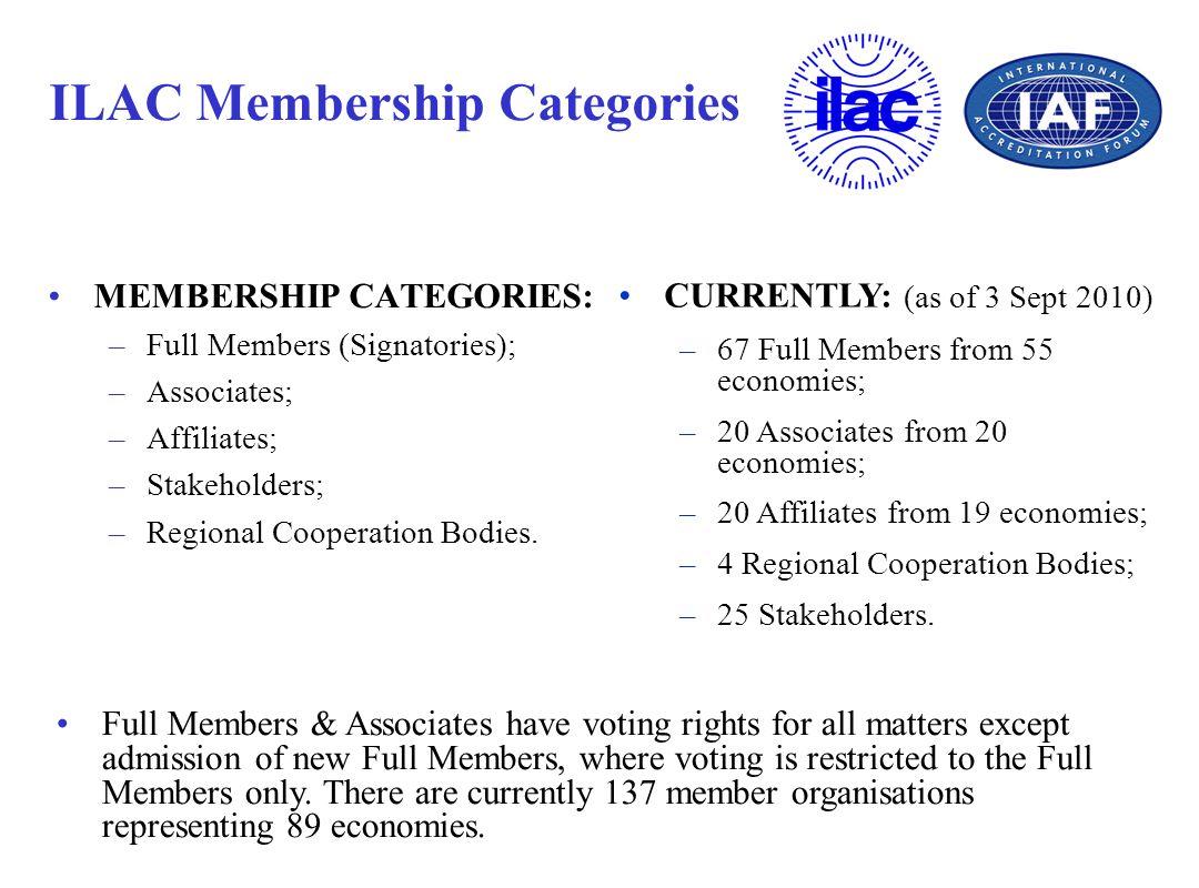 ILAC Membership Categories MEMBERSHIP CATEGORIES: –Full Members (Signatories); –Associates; –Affiliates; –Stakeholders; –Regional Cooperation Bodies.