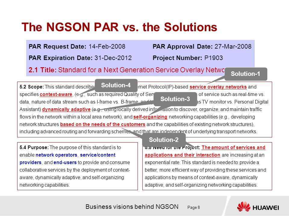 Business visions behind NGSON Page 8 The NGSON PAR vs.
