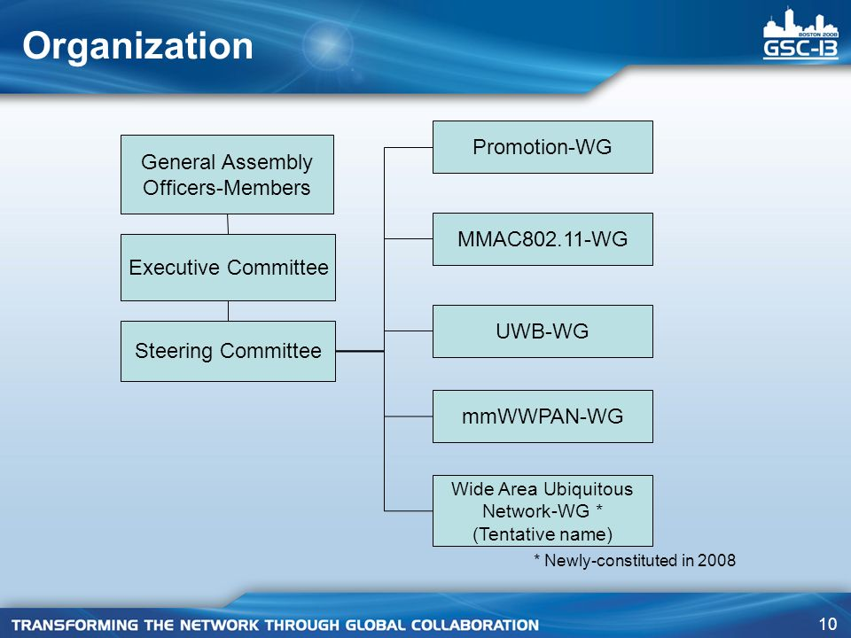 10 Organization General Assembly Officers-Members Executive Committee Steering Committee Promotion-WG MMAC802.11-WG UWB-WG mmWWPAN-WG Wide Area Ubiqui