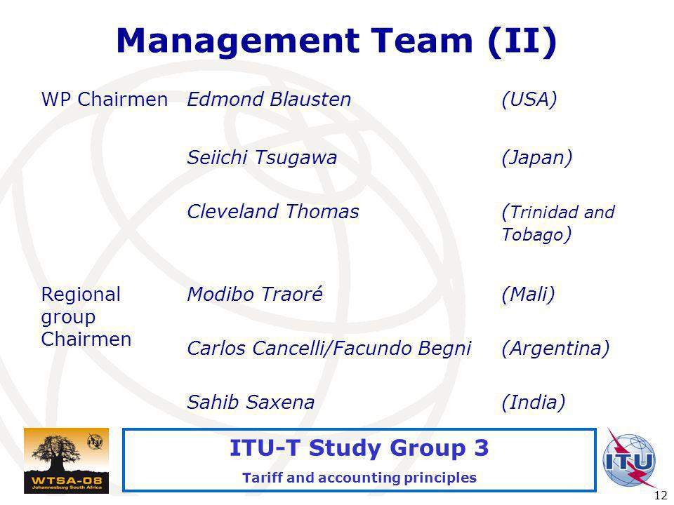 International Telecommunication Union 12 ITU-T Study Group 3 Tariff and accounting principles Management Team (II) WP ChairmenEdmond Blausten(USA) Sei