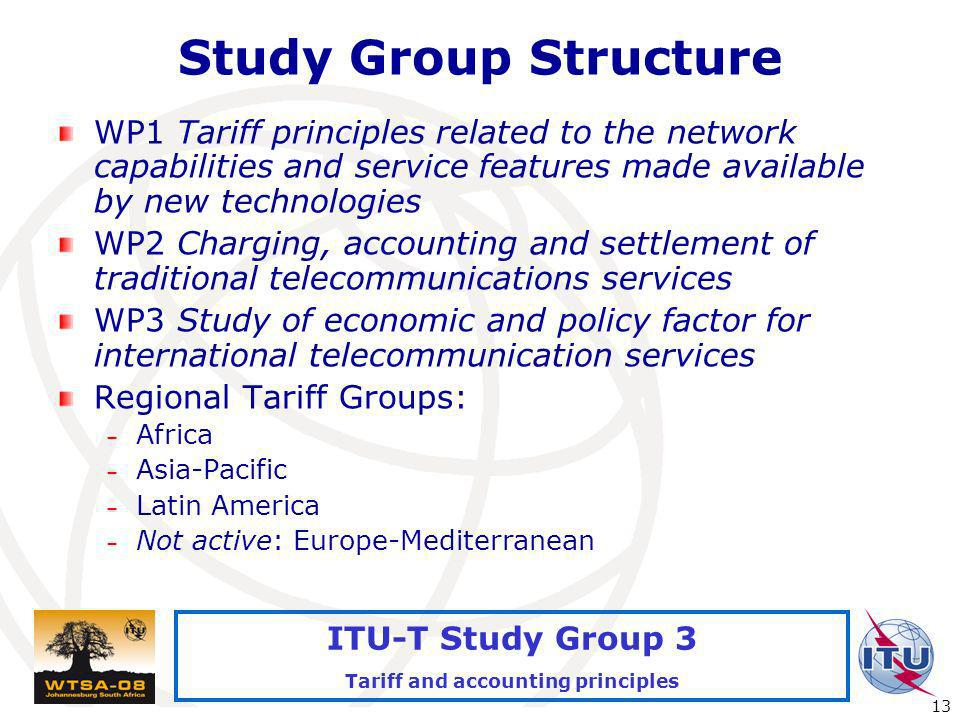 International Telecommunication Union 13 ITU-T Study Group 3 Tariff and accounting principles Study Group Structure WP1 Tariff principles related to the network capabilities and service features made available by new technologies WP2 Charging, accounting and settlement of traditional telecommunications services WP3 Study of economic and policy factor for international telecommunication services Regional Tariff Groups: – Africa – Asia-Pacific – Latin America – Not active: Europe-Mediterranean