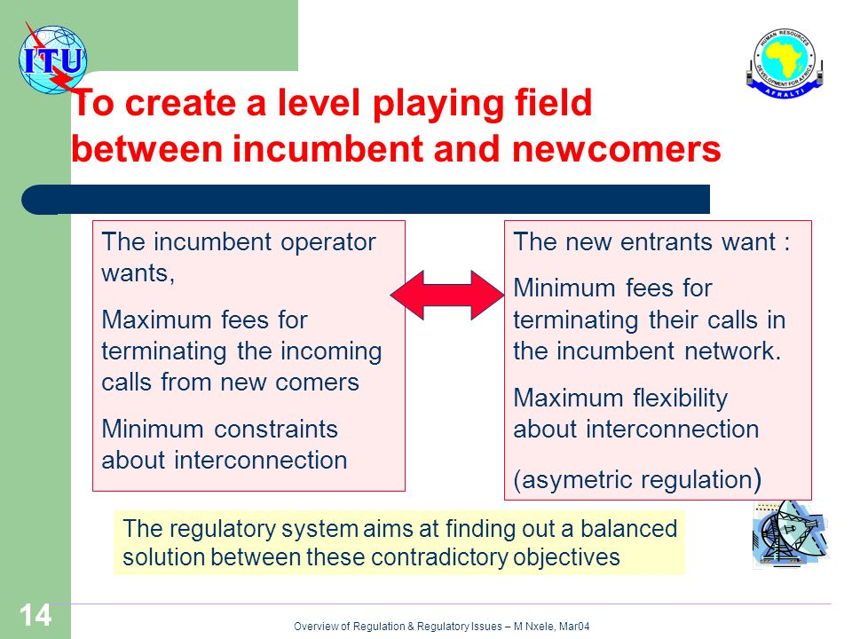Overview of Regulation & Regulatory Issues – M Nxele, Mar04 14 The incumbent operator wants, Maximum fees for terminating the incoming calls from new