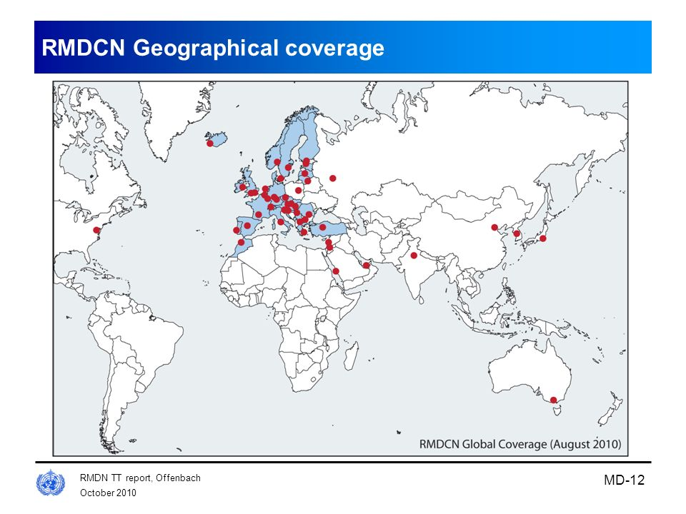 October 2010 RMDN TT report, Offenbach MD-12 RMDCN Geographical coverage