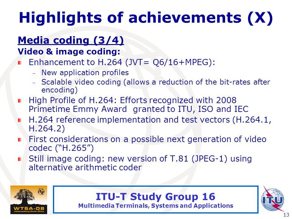 International Telecommunication Union 13 ITU-T Study Group 16 Multimedia Terminals, Systems and Applications Highlights of achievements (X) Media codi
