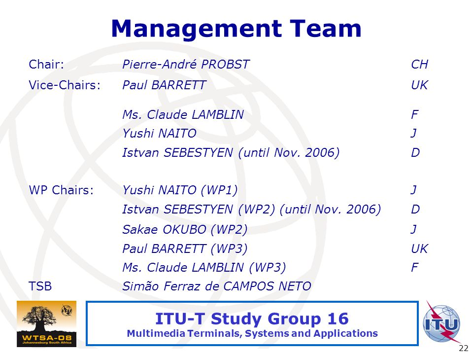 International Telecommunication Union 22 ITU-T Study Group 16 Multimedia Terminals, Systems and Applications Management Team Chair:Pierre-André PROBST