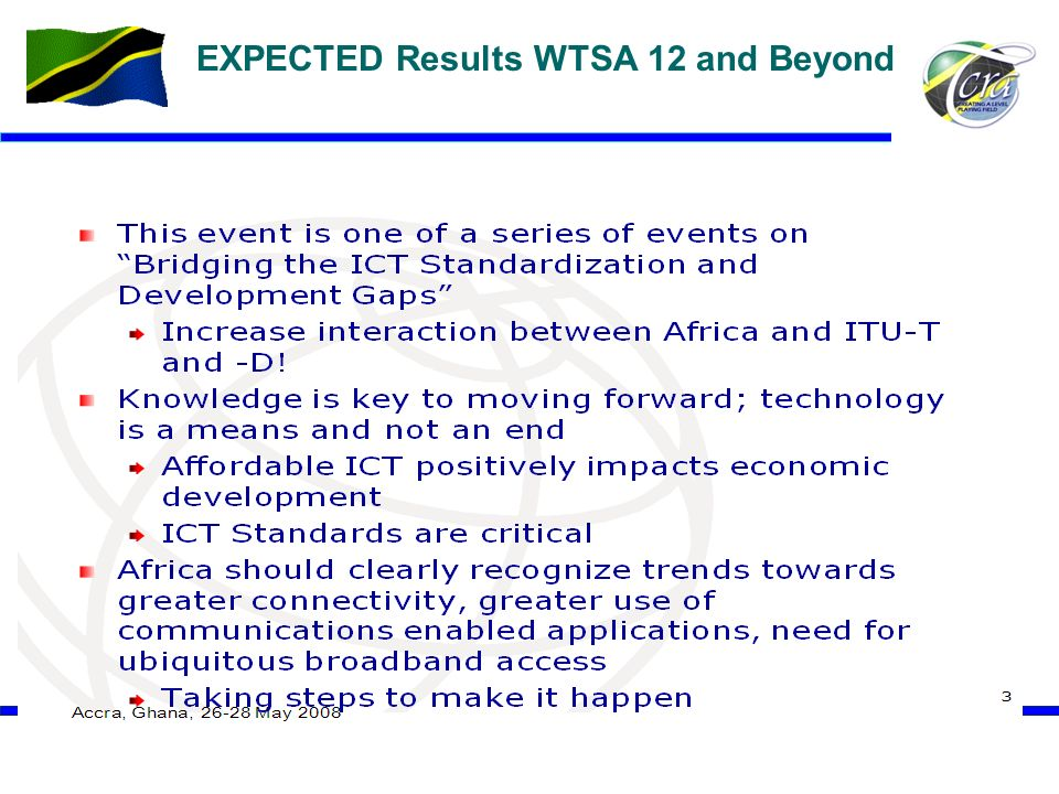 18 EXPECTED Results WTSA 12 and Beyond \