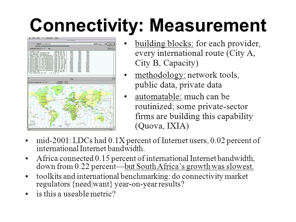 Connectivity: Measurement mid-2001: LDCs had 0.1X percent of Internet users, 0.02 percent of international Internet bandwidth. Africa connected 0.15 p