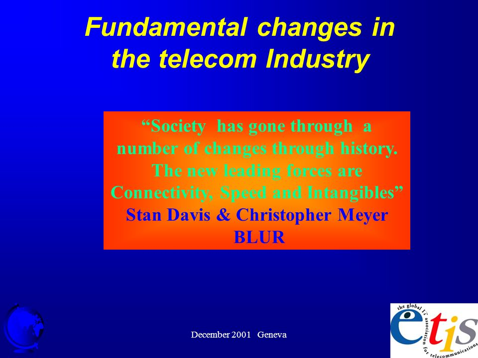 December 2001 Geneva 12 Fundamental changes in the telecom Industry Society has gone through a number of changes through history.