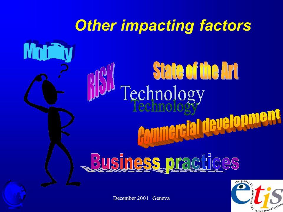 December 2001 Geneva 19 Other impacting factors