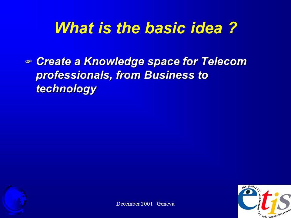 December 2001 Geneva 25 What is the basic idea .